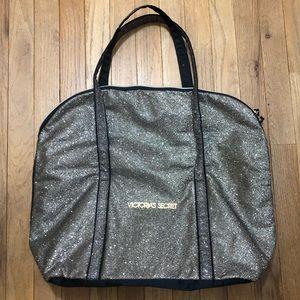 VICTORIA'S SECRET GLITTER GOLD TRAVEL BAG TOTE NEW